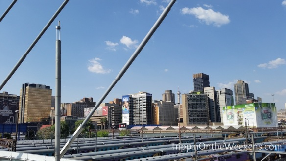 The view of downtown Joburg from the Nelson Mandela bridge.
